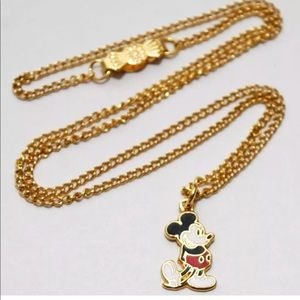 Mickey Mouse Gold Tone Enamel Choker Necklace